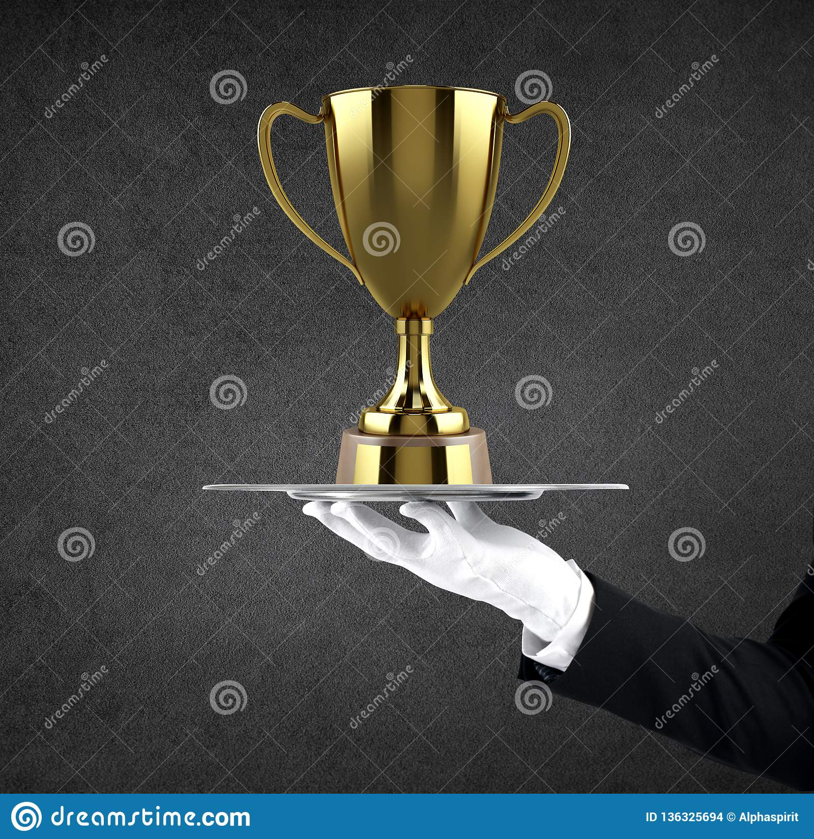 Waiter that holds a tray with soccer golden cup. Concept of first class service on soccer