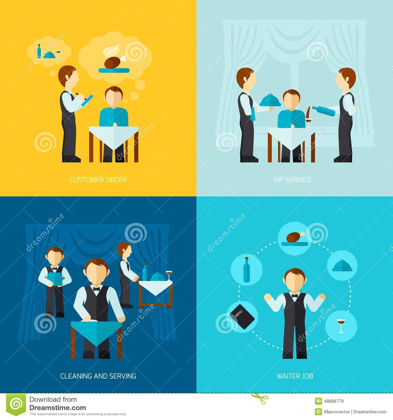 Waiter man icon flat stock vector image 48896779 for Decoration jibs