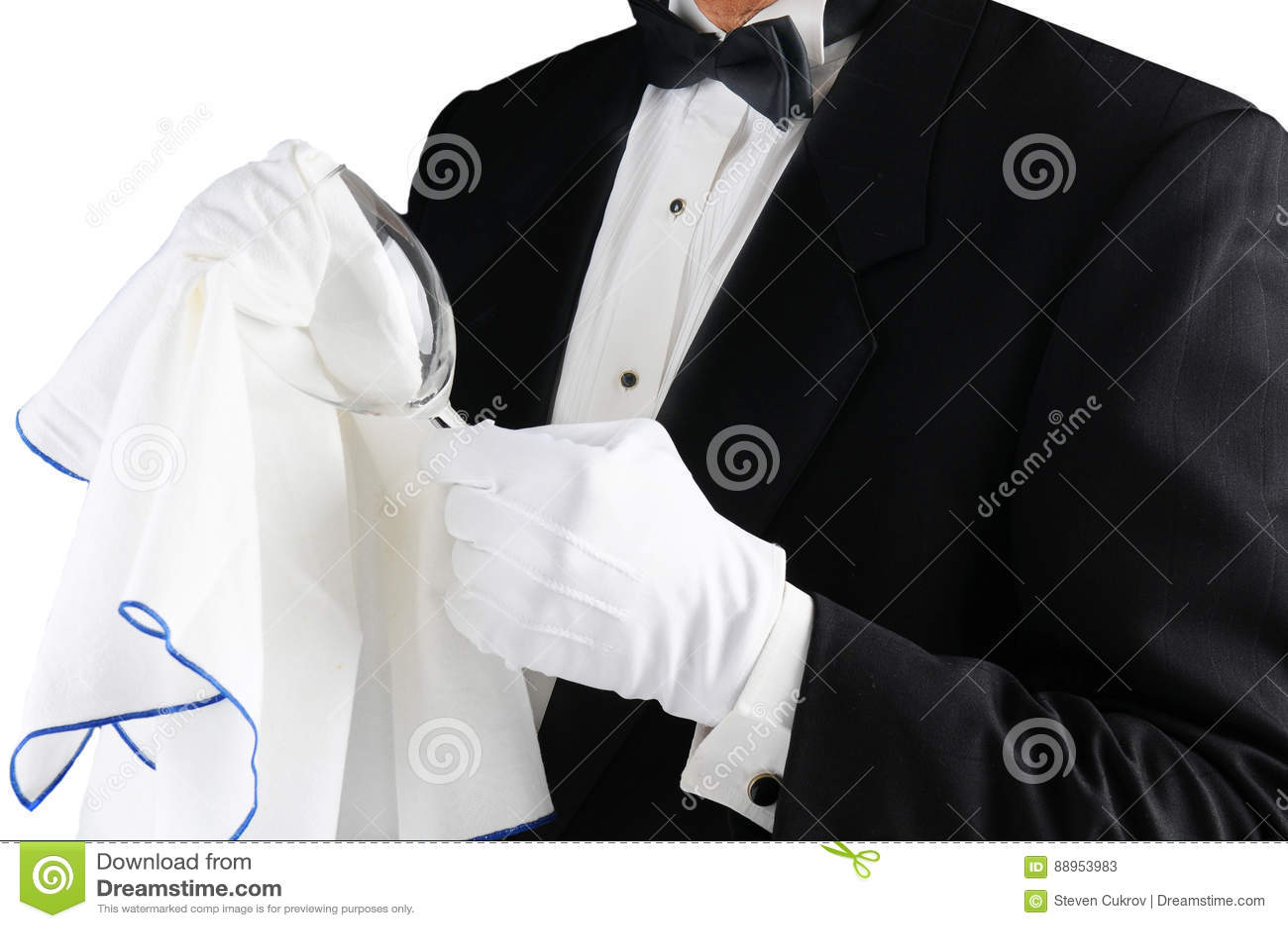 Waiter Polishing Glass