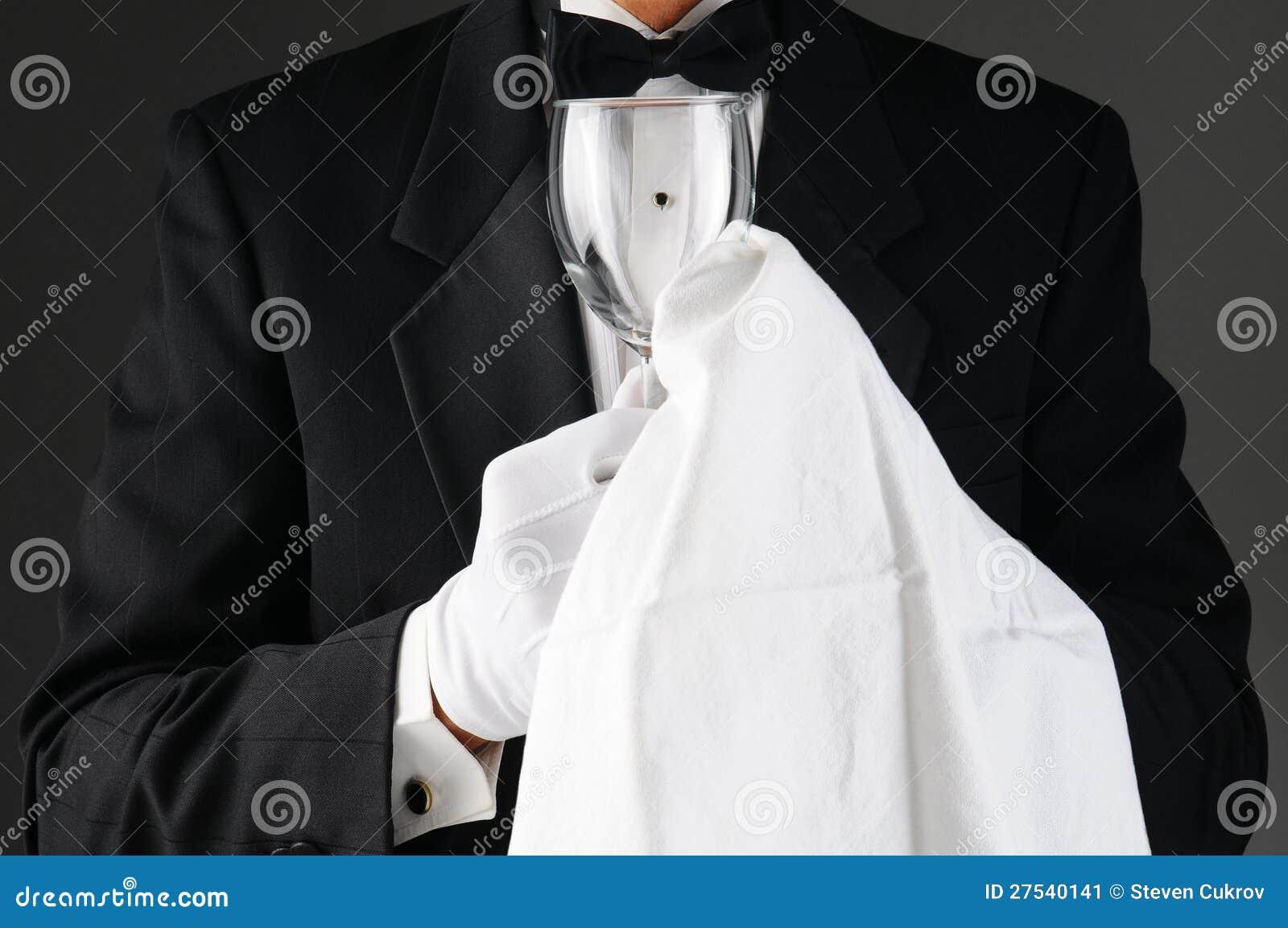 Waiter Polishing Stemware