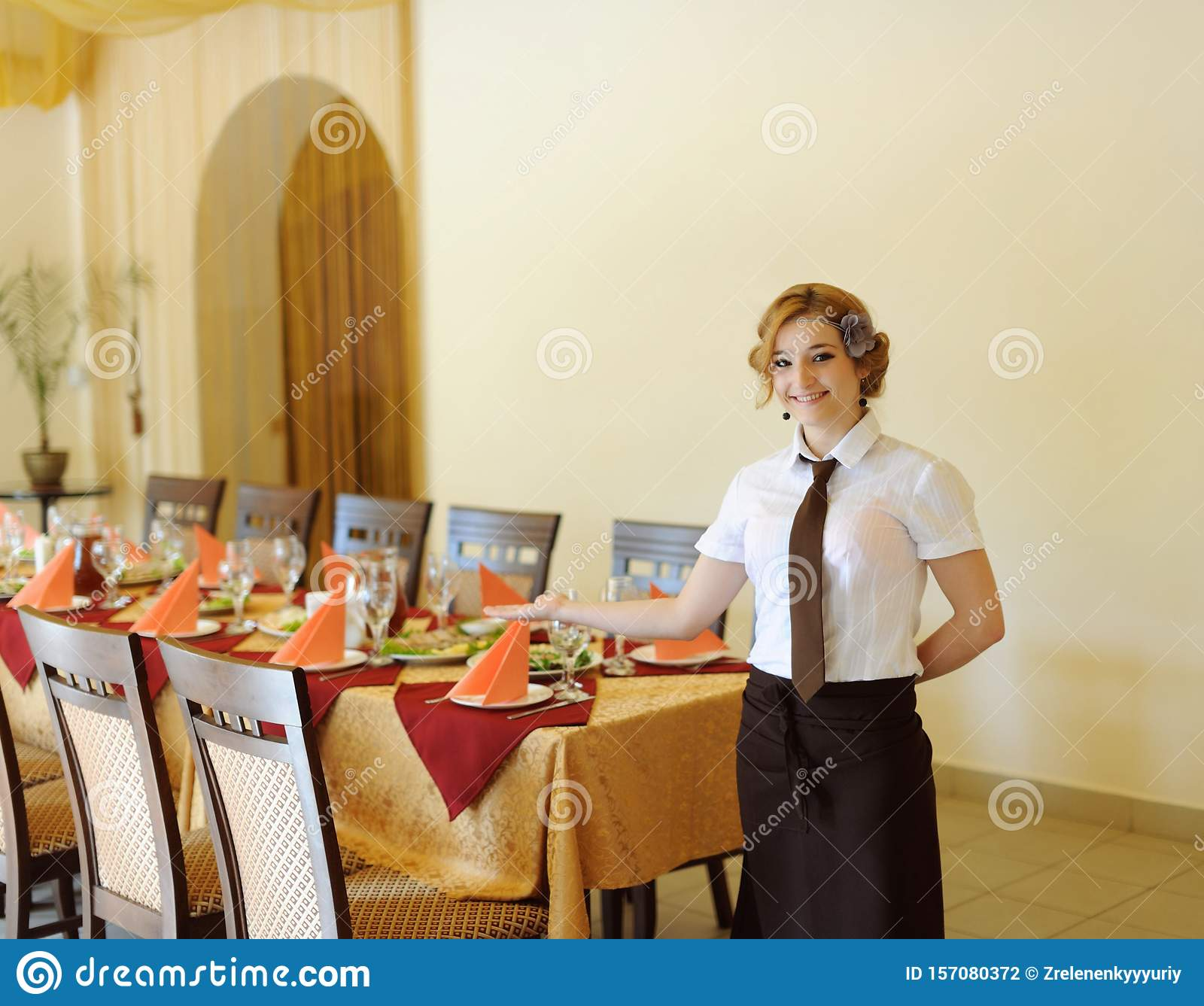 The Waiter In The Restaurant Stock Photo Image Of Industry Cook 157080372