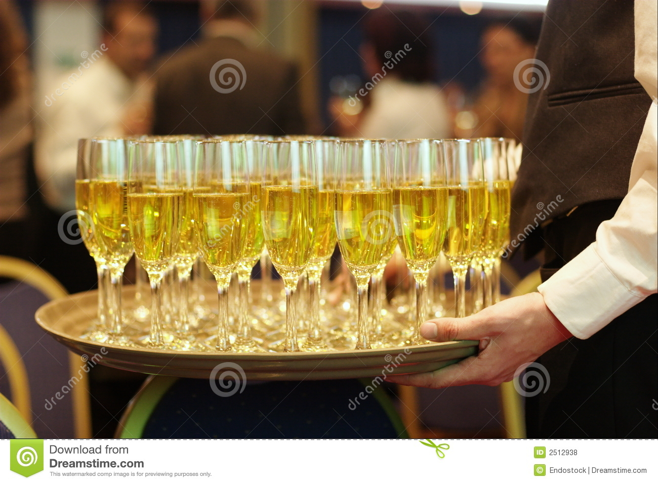 waiter serving champagne tray