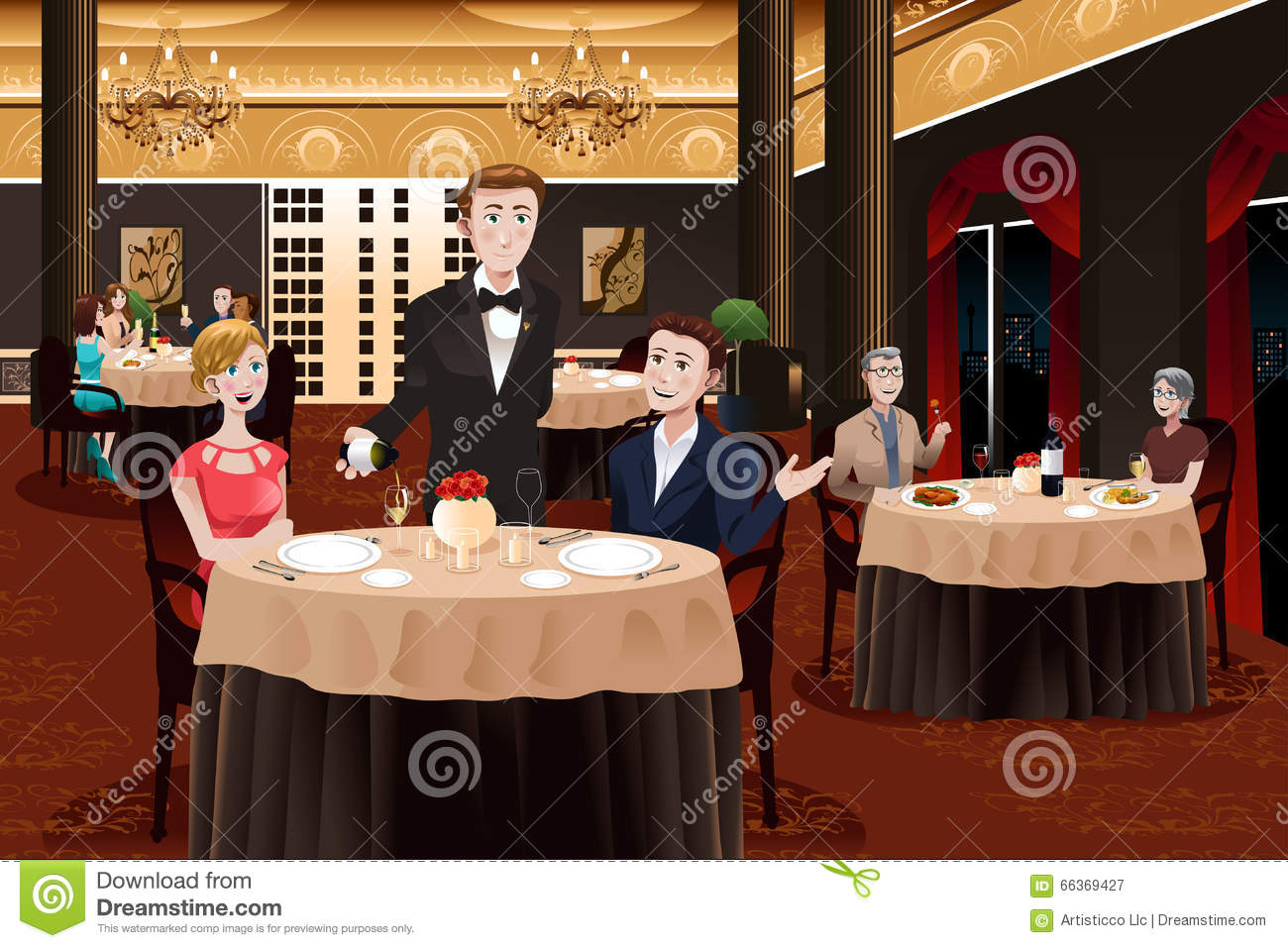 Waiter Serving Customers stock vector  Illustration of