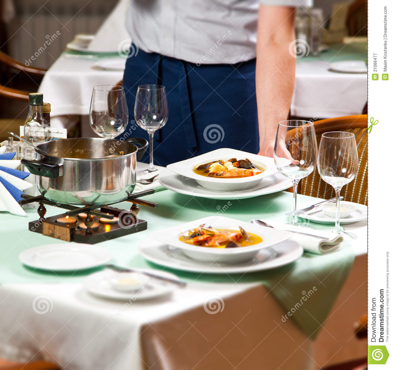 Waiter Serving Food At Restaurant Stock Image Image Of Squid White 21066477