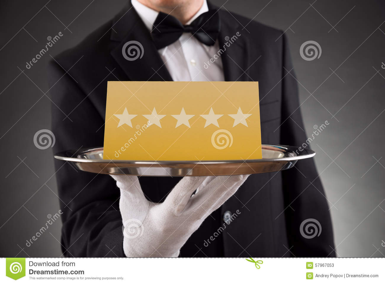 Download Waiter Serving Star Rating stock image. Image of closeup - 57967053