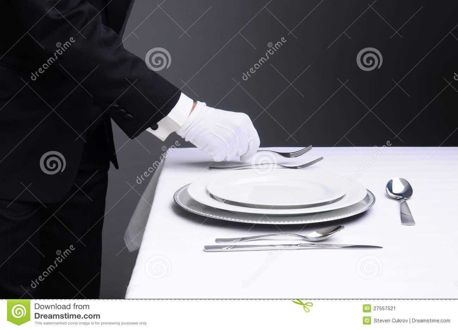 Formal Dinner Setting waiter setting formal dinner table stock image - image: 27557521