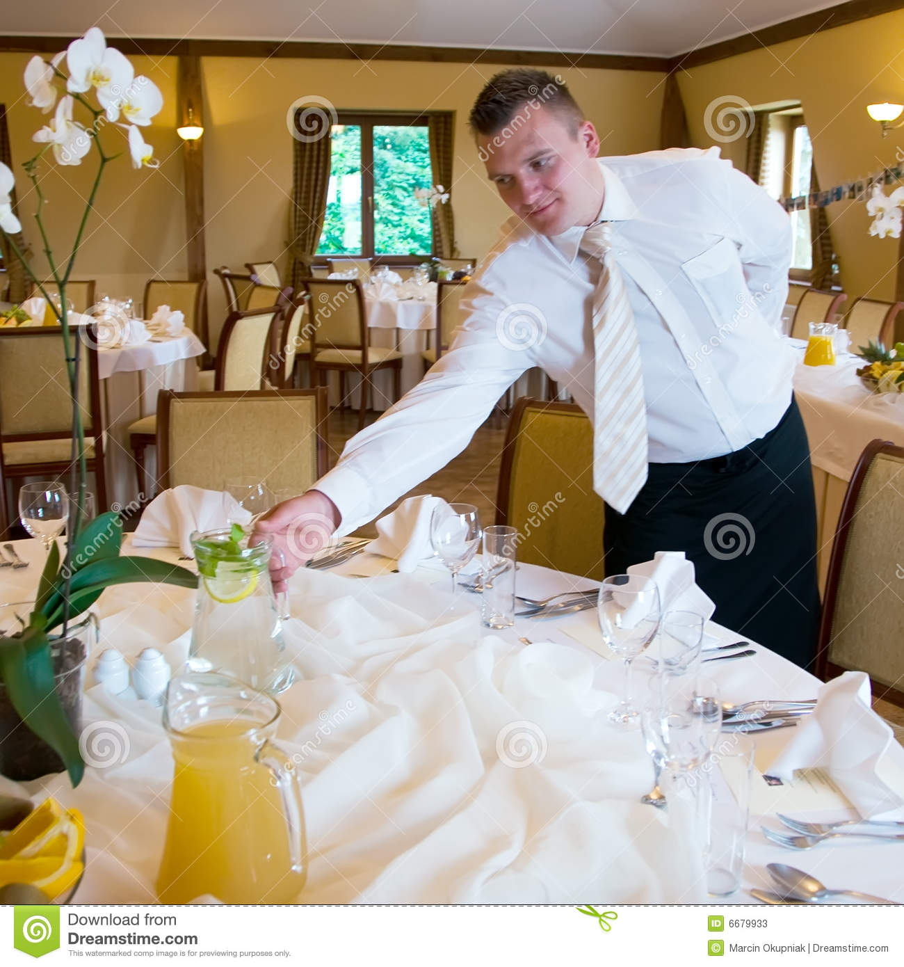 Waiter Setting Table Stock Photos Image 6679933