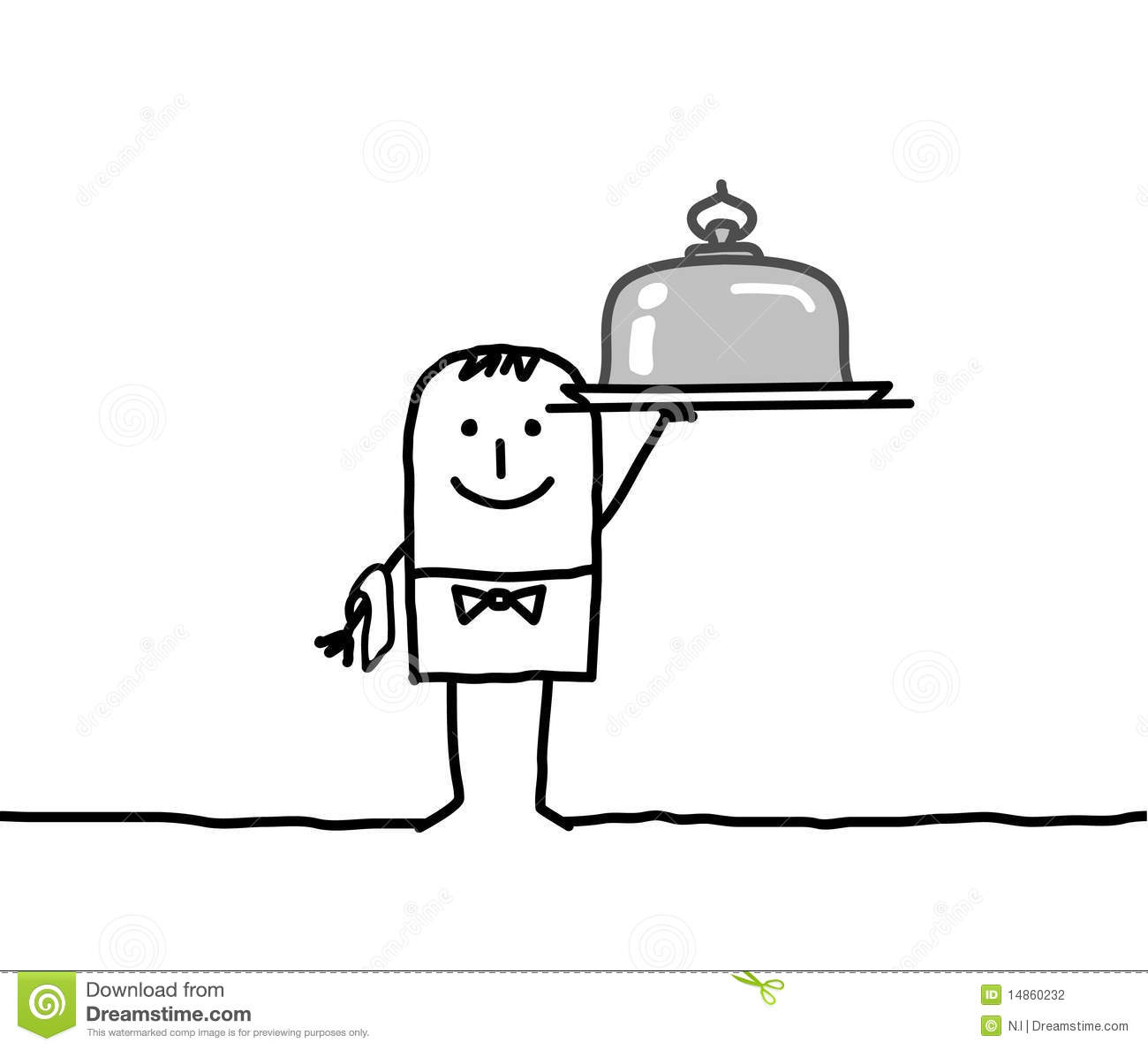 Waiter and silver dish