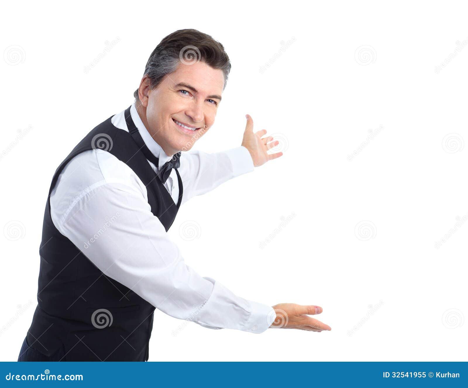 waiter stock image image of businessman advertising