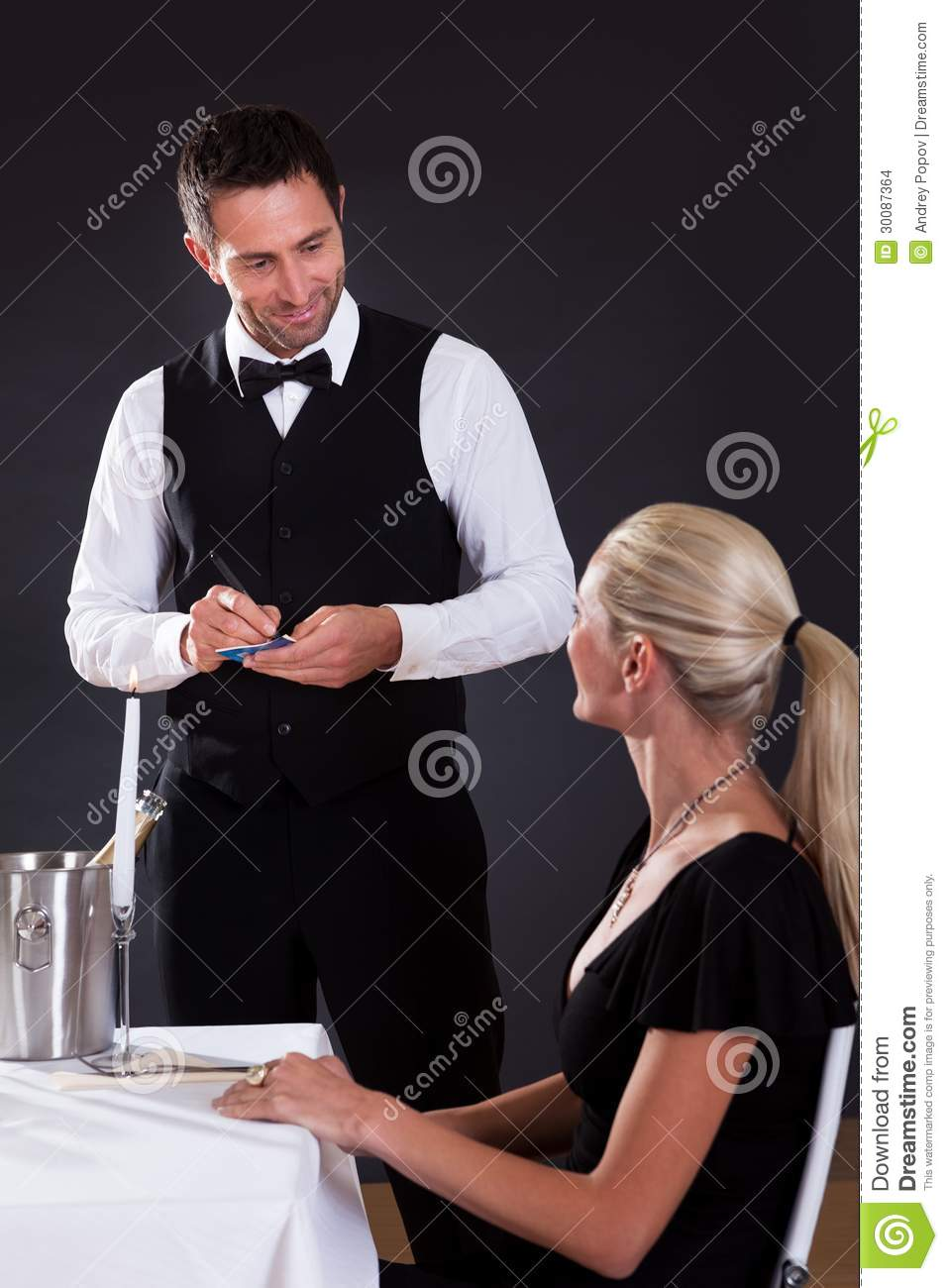 waiter taking order stock images