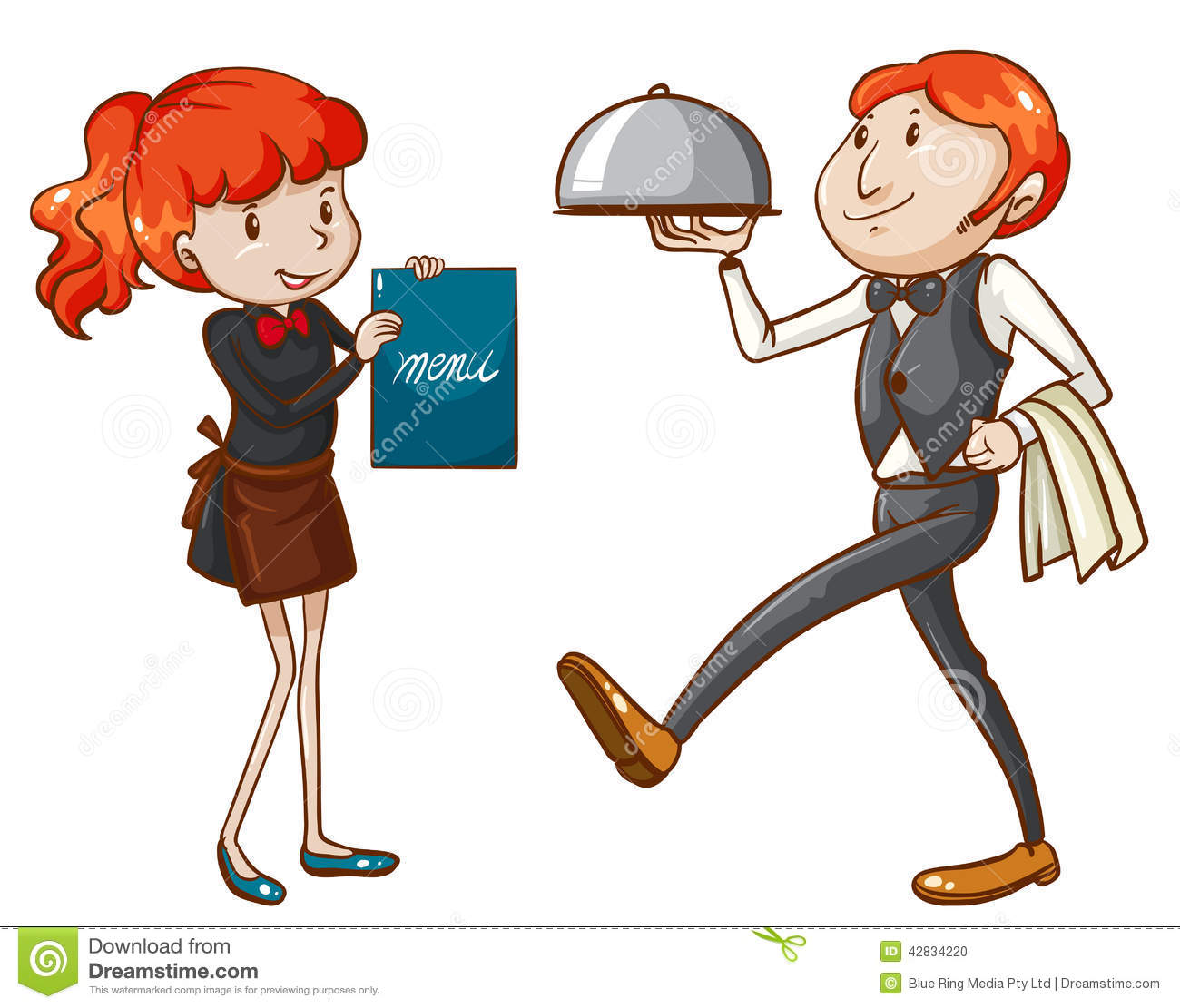 Waiter And Waitress Clipart a Waiter And a Waitress Stock