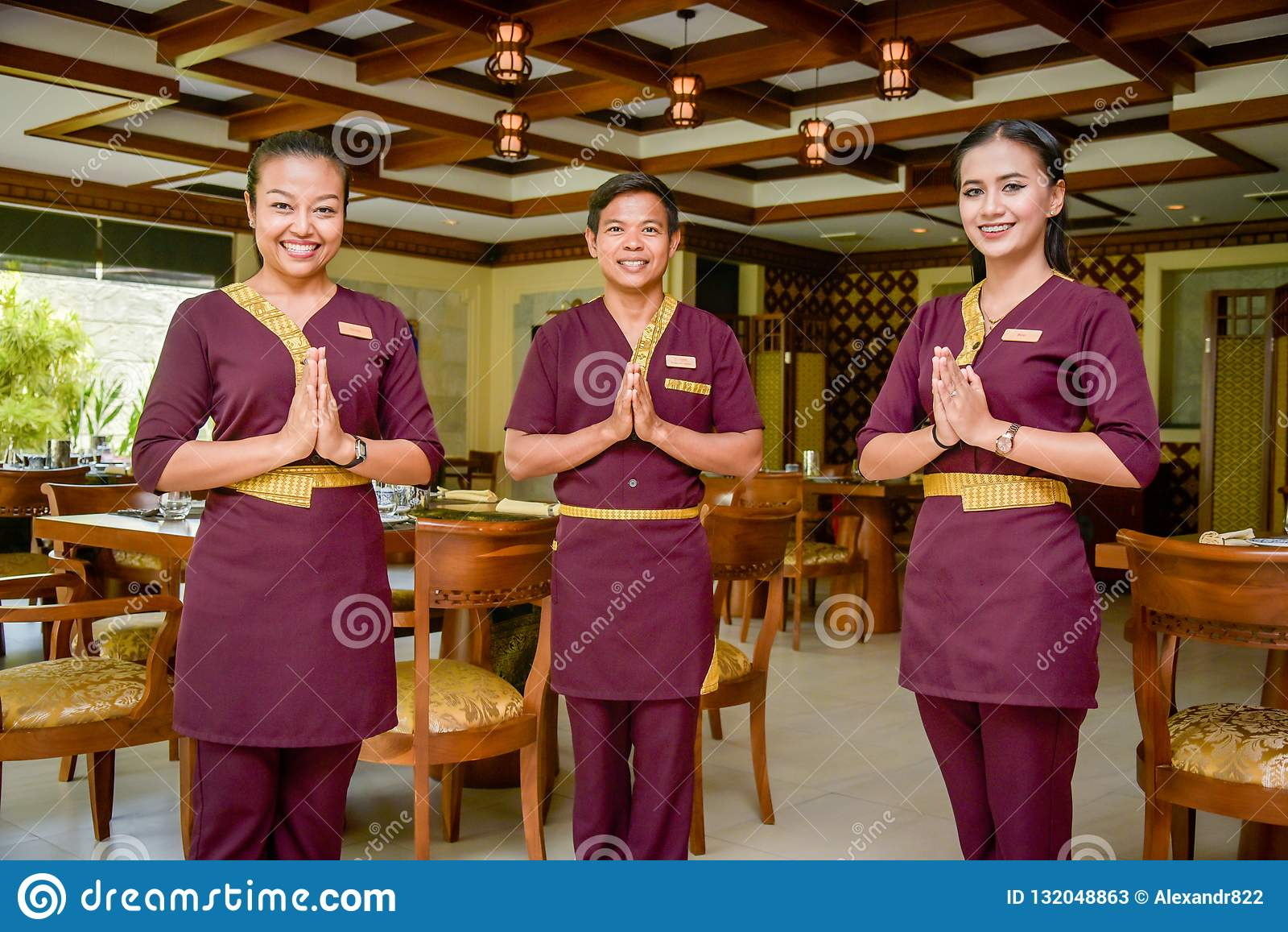 Waiter And Waitress In The Thai Restaurant Standing And Smiling Editorial Stock Photo Image Of Feed Holding 132048863