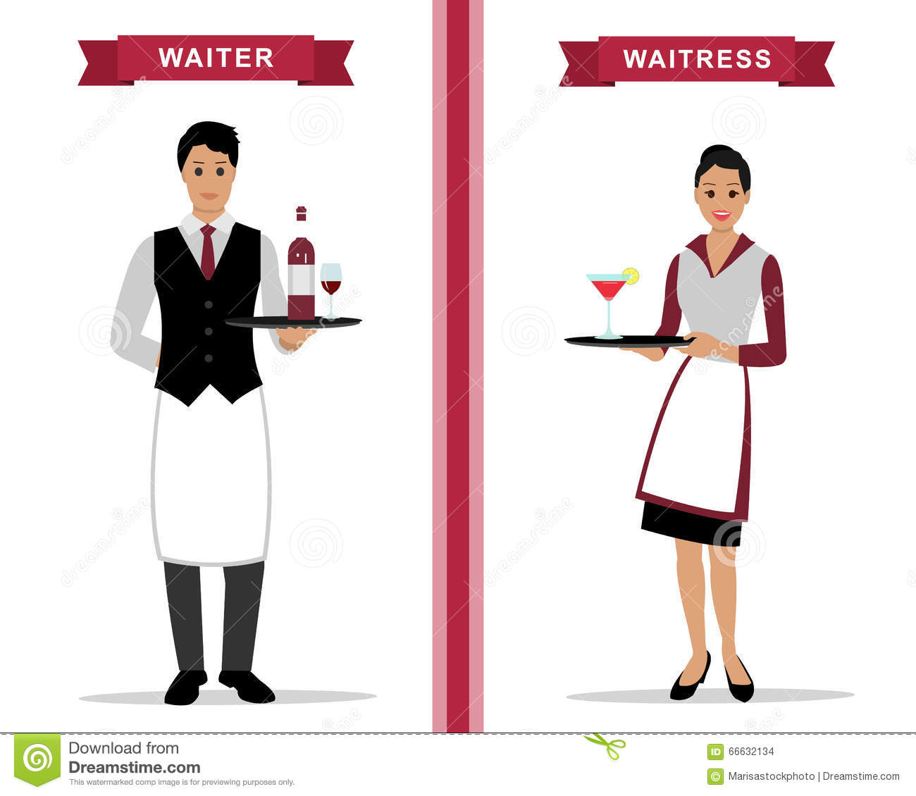 Waiter And Waitress With Trays Stock Vector Image 66632134
