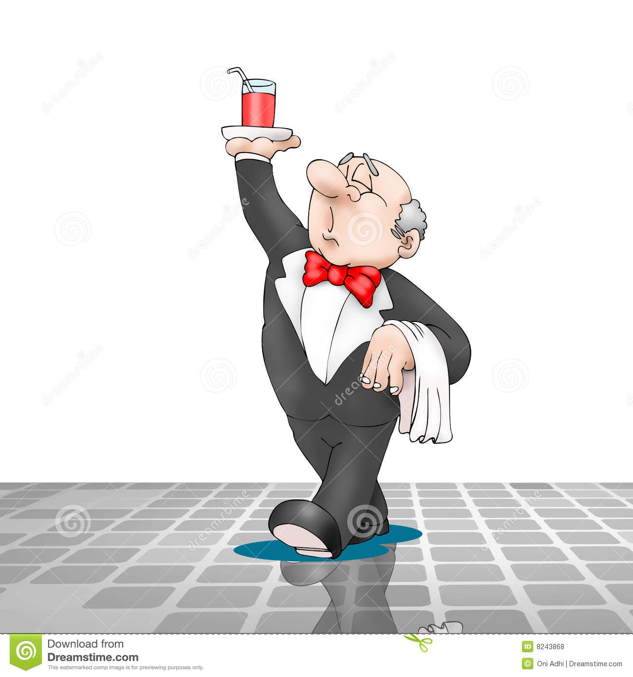 Waiter Walking With Beverage On Tray Royalty Free Stock