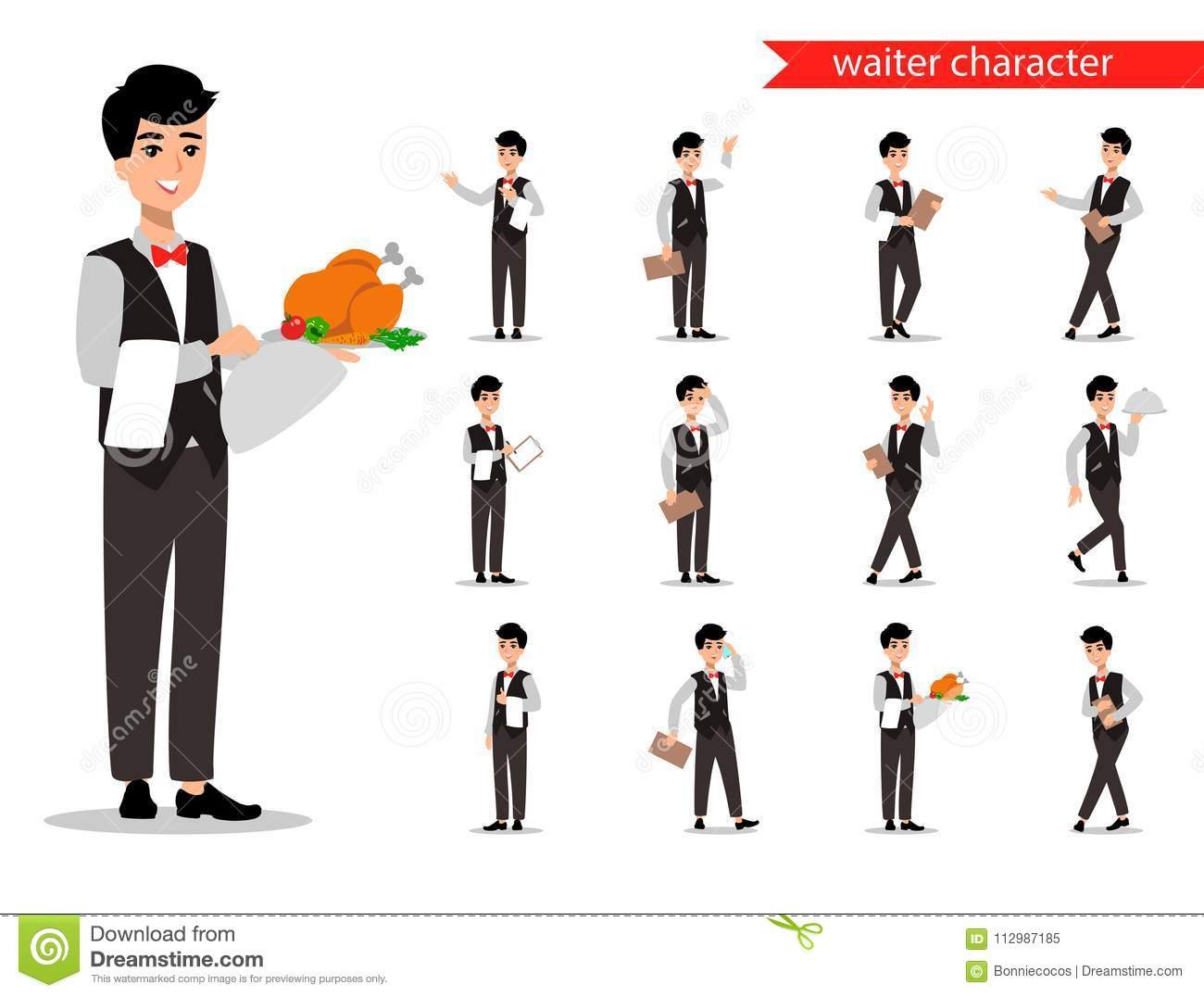 Waiter wearing the uniform holding a dish of chicken cartoon character. Set of fun flat cartoon person. Isolated on white backgrou