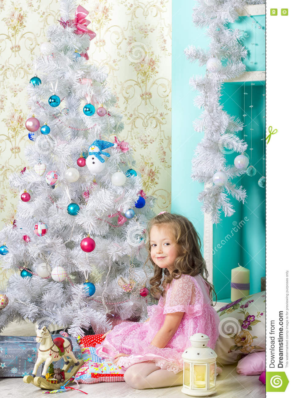Christmas tree dress up images - Waiting For Christmas Little Girl Dresses Up Christmas Tree