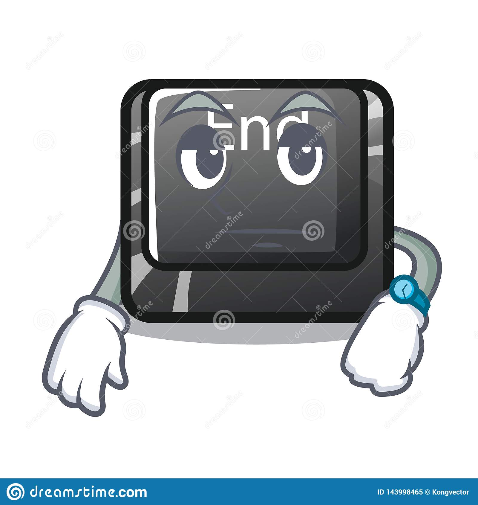 Waiting end button located on cartoon keyboard