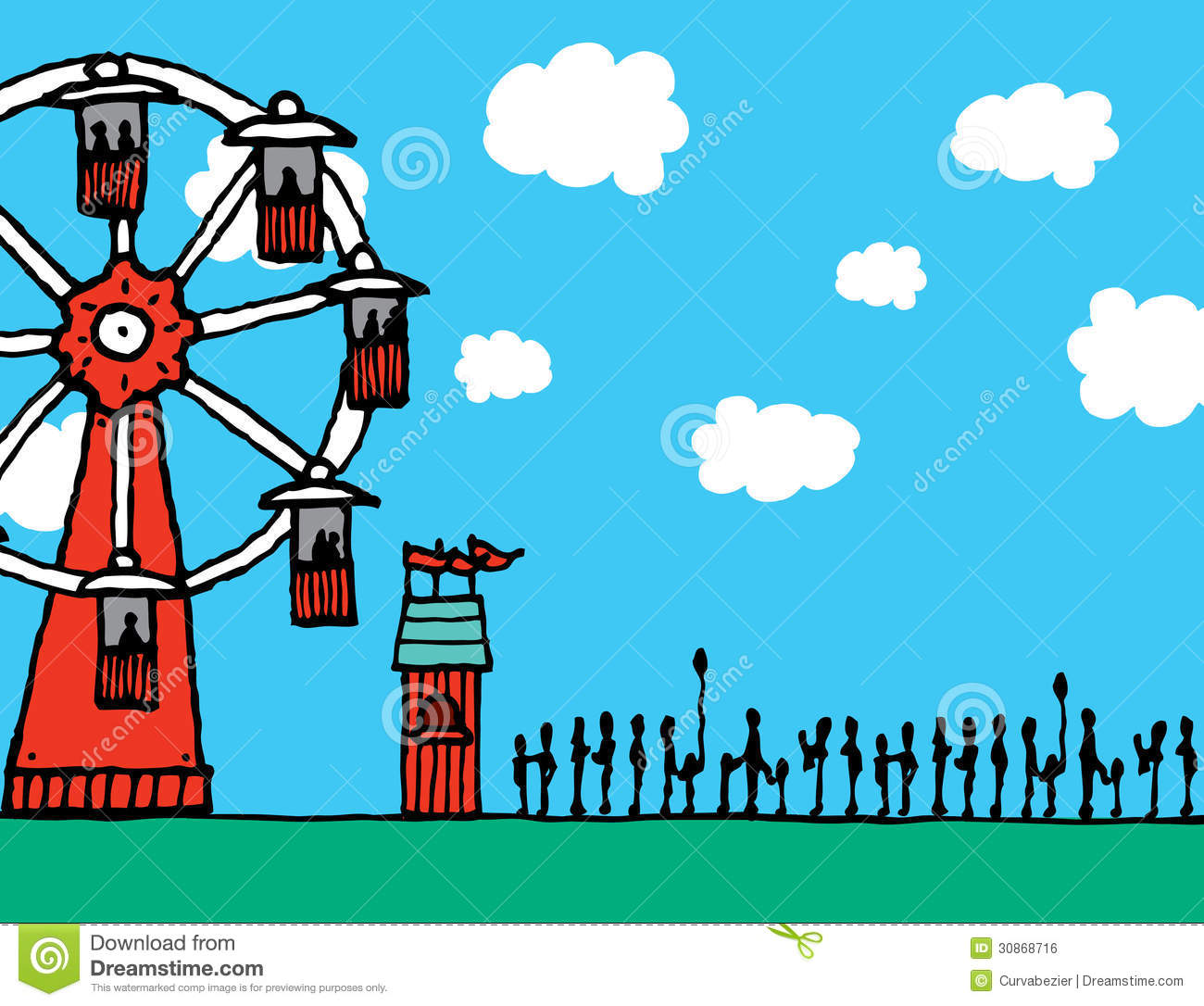 Waiting In Line For The Ferris Wheel Stock Illustration
