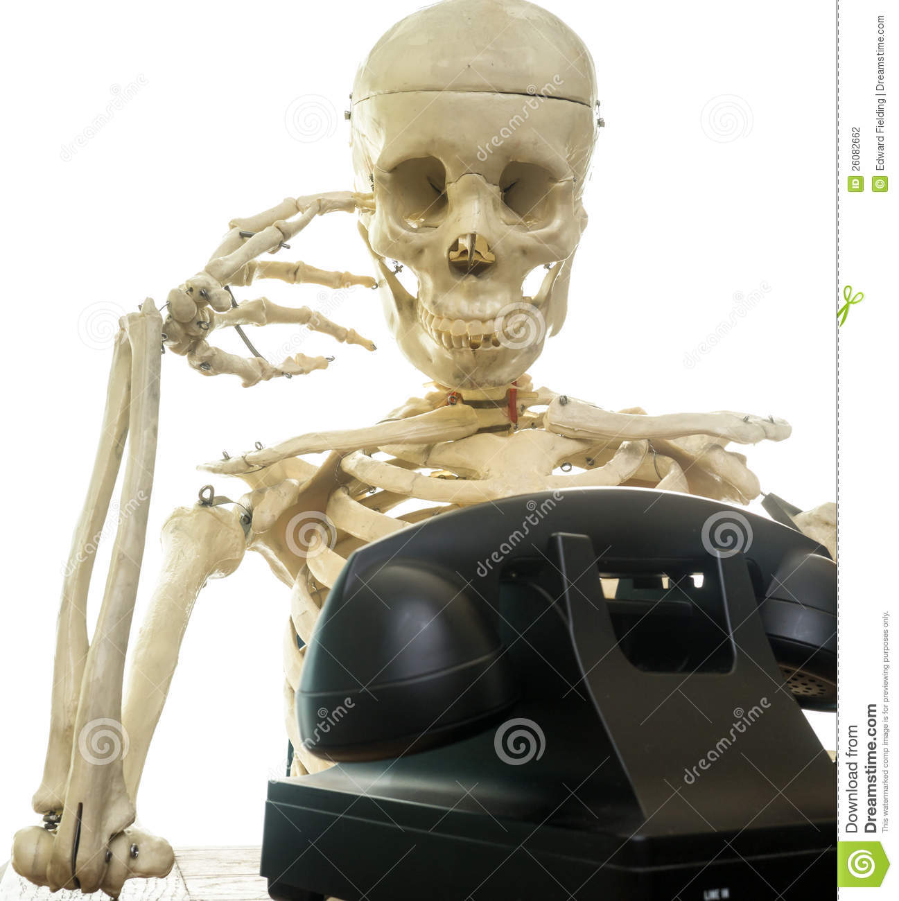human turns into a skeleton waiting for someone to call on the ...