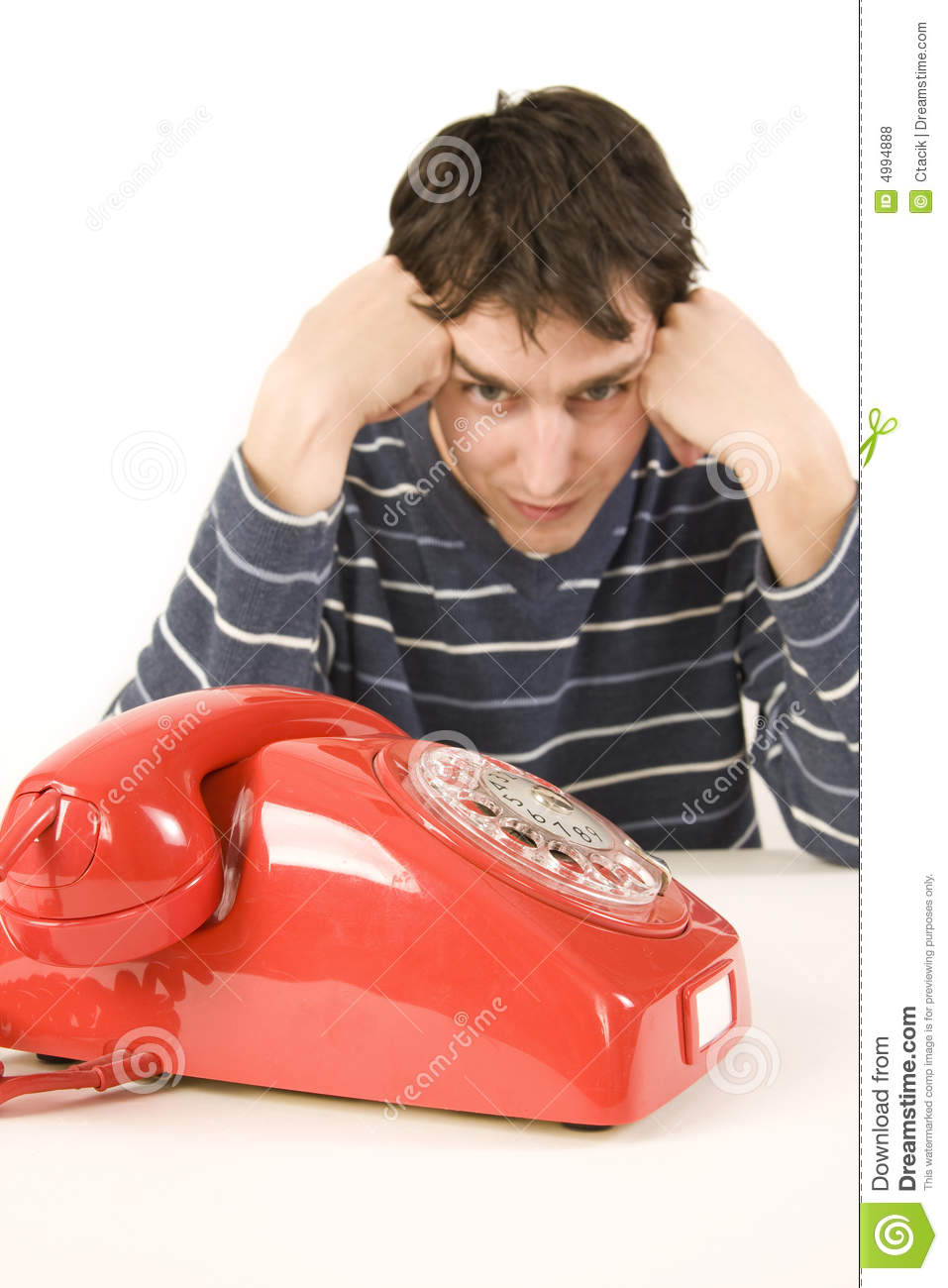 Man waiting for phone call