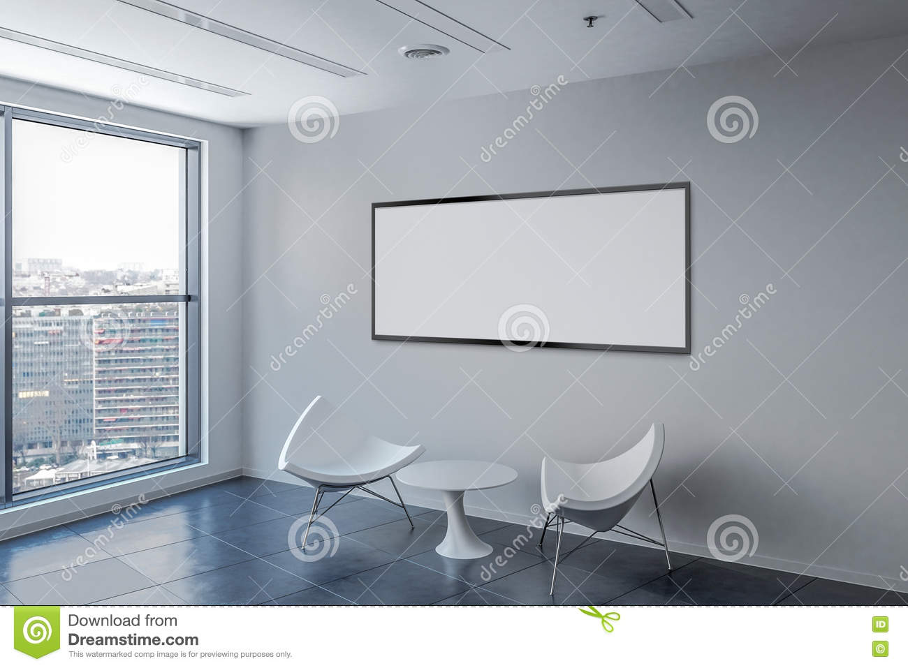 Waiting Room With Blank Picture Frame On The Wall. Stock ...