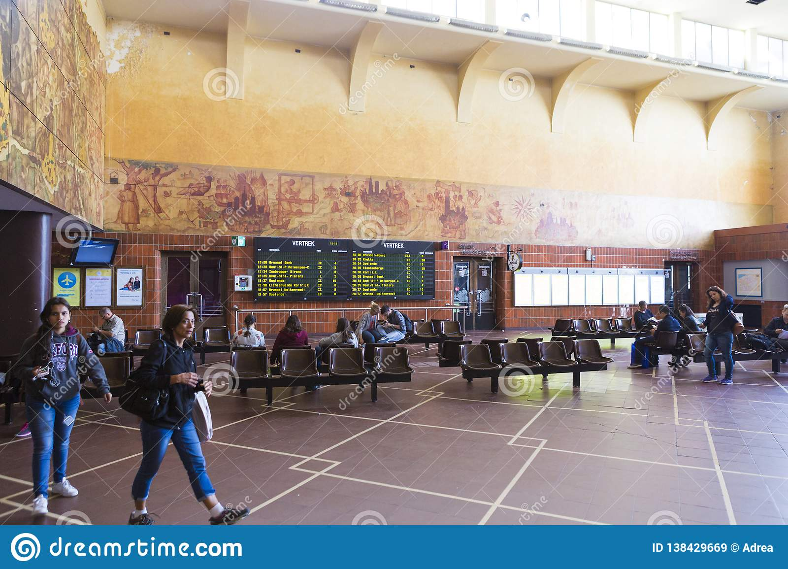 Waiting Room From Bruges Train Station Editorial Stock Image Image Of Tiles Tourism 138429669