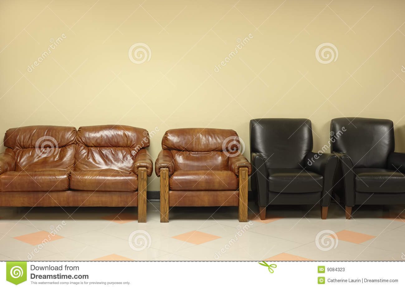 Mission chair leather - Waiting Room With Leather Chairs Stock Photos