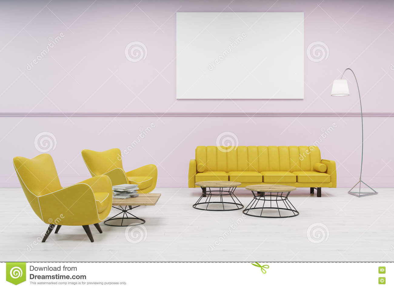 Waiting Room With Pink Walls Stock Illustration - Illustration of ...