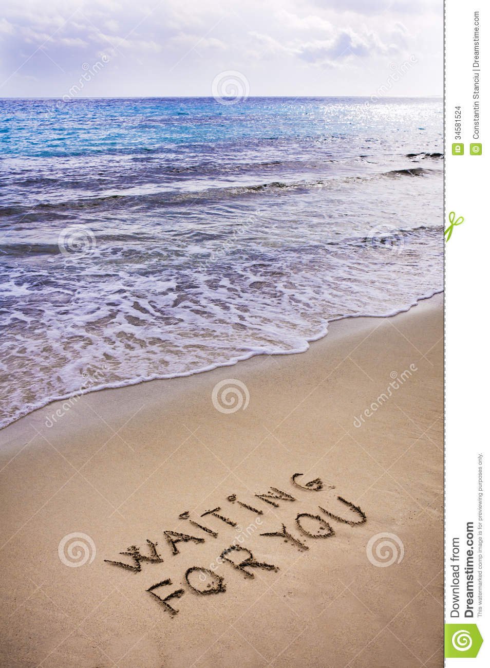Waiting For You Written In A Sandy Tropical Beach Stock Photo