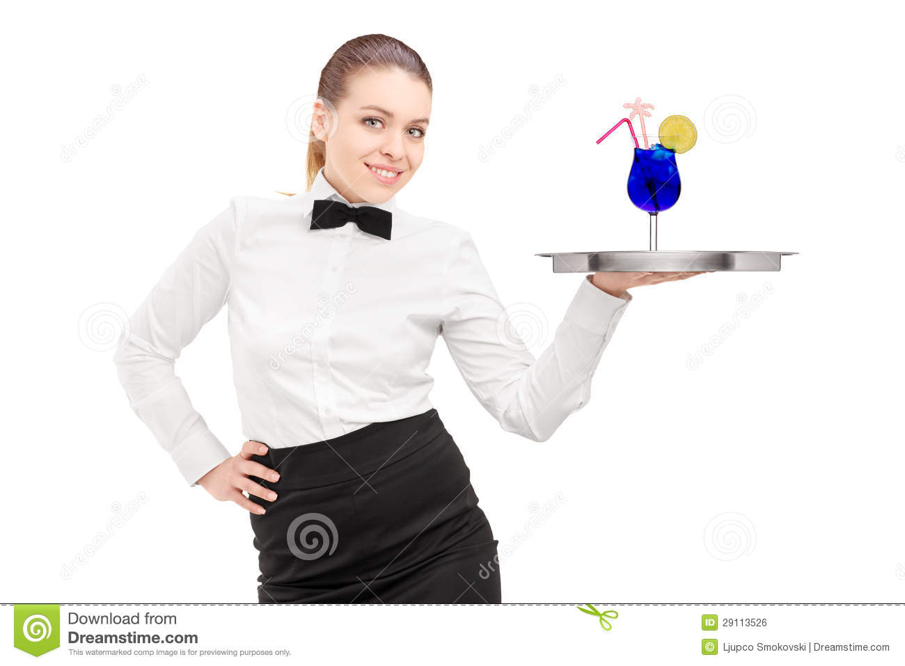 Waitress With Bow Tie Holding A Tray With Cocktail On It Tray ...