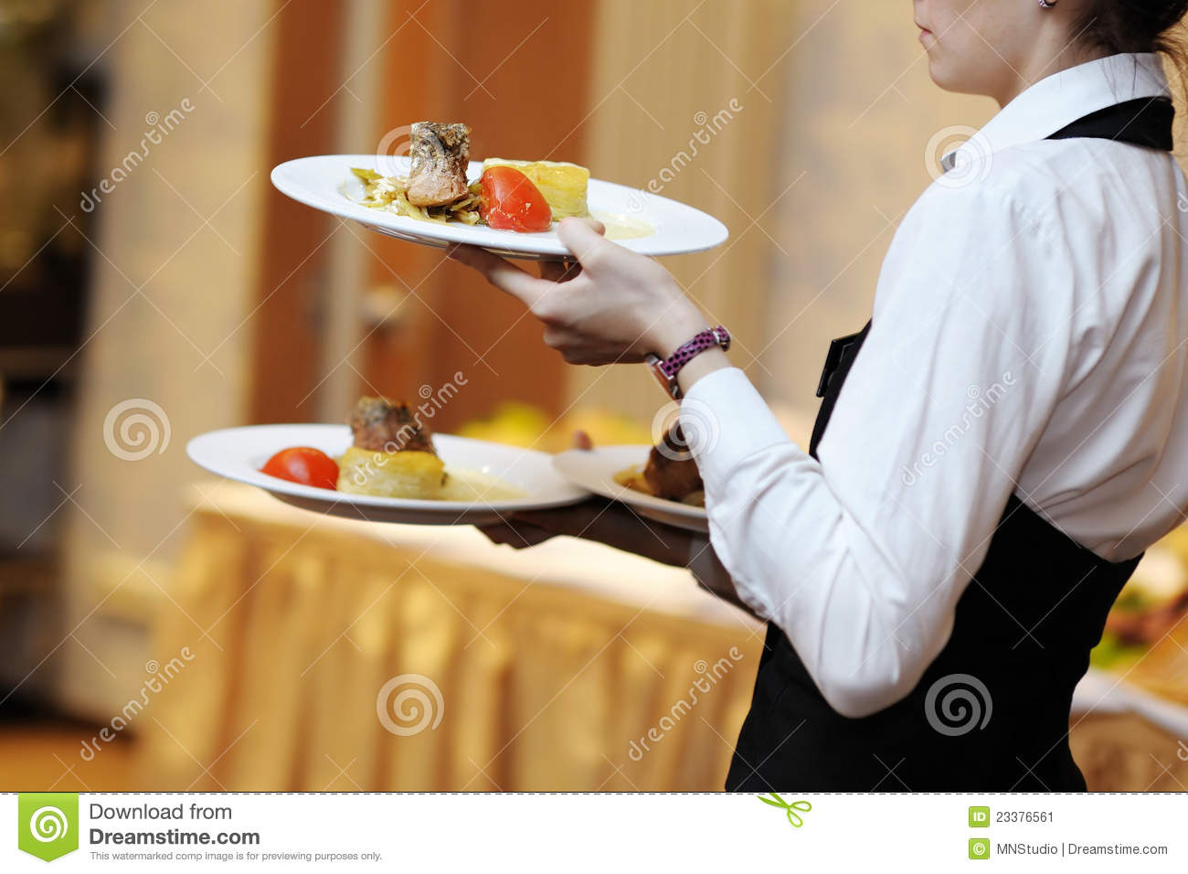 Waitress Carrying Three Plates With Meat Dish Stock Image