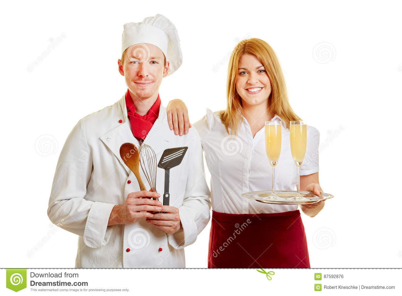 Waitress and chef as service personnel