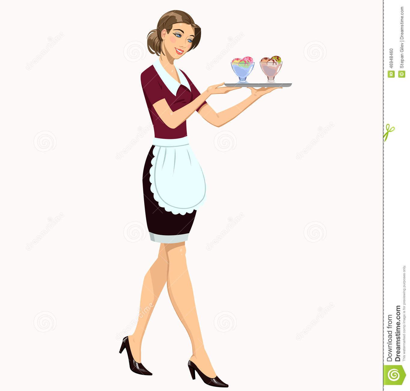 Waitress With Ice Cream Stock Vector Image Of Black