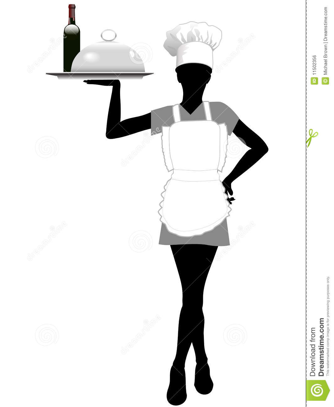 Waitress Silhouette In Chef Hat Holds Serving Tray Royalty ...