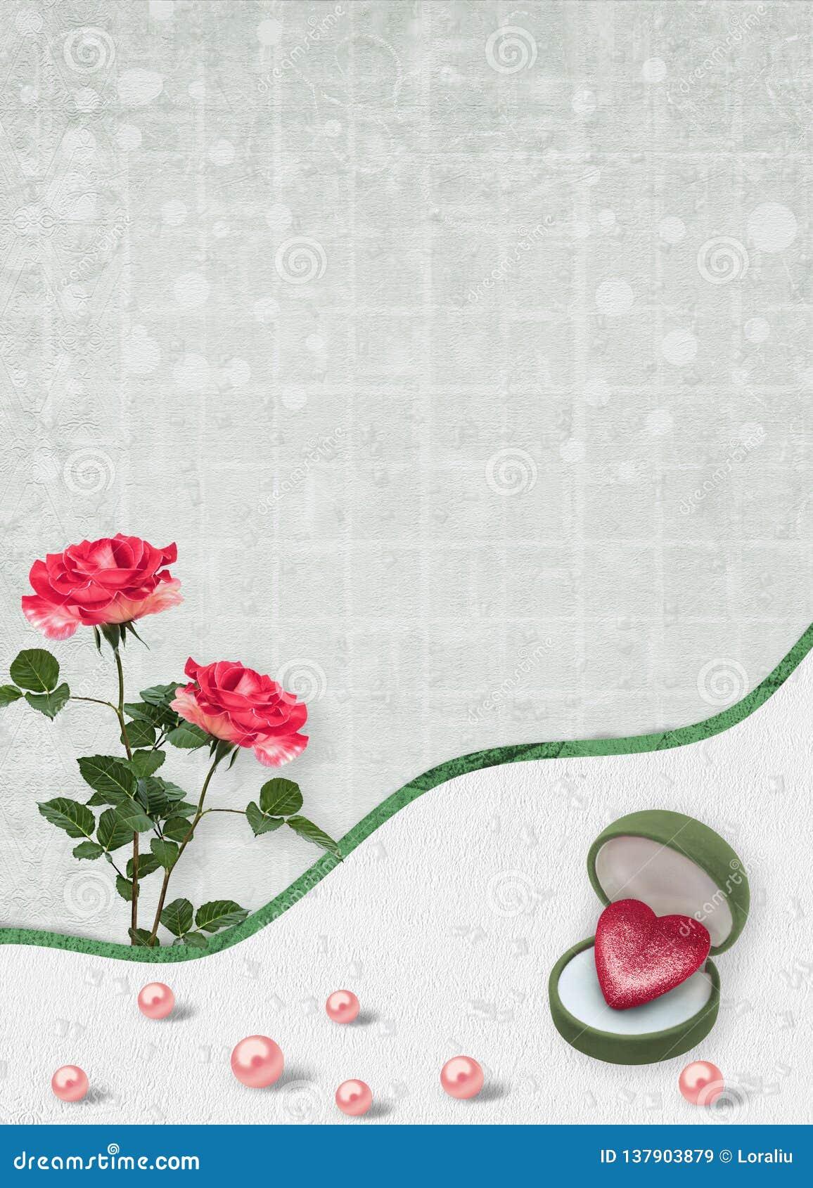 Wakacje karta z perłami i bukietem piękne czerwone róże na zielonego papieru tle