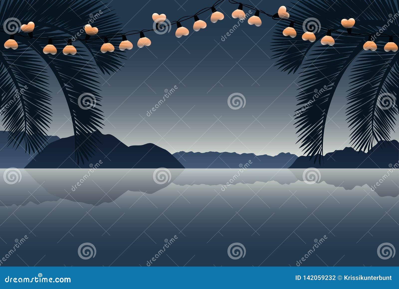 Wakacje letni raju palmy plaża z kierowym czarodziejskim światłem