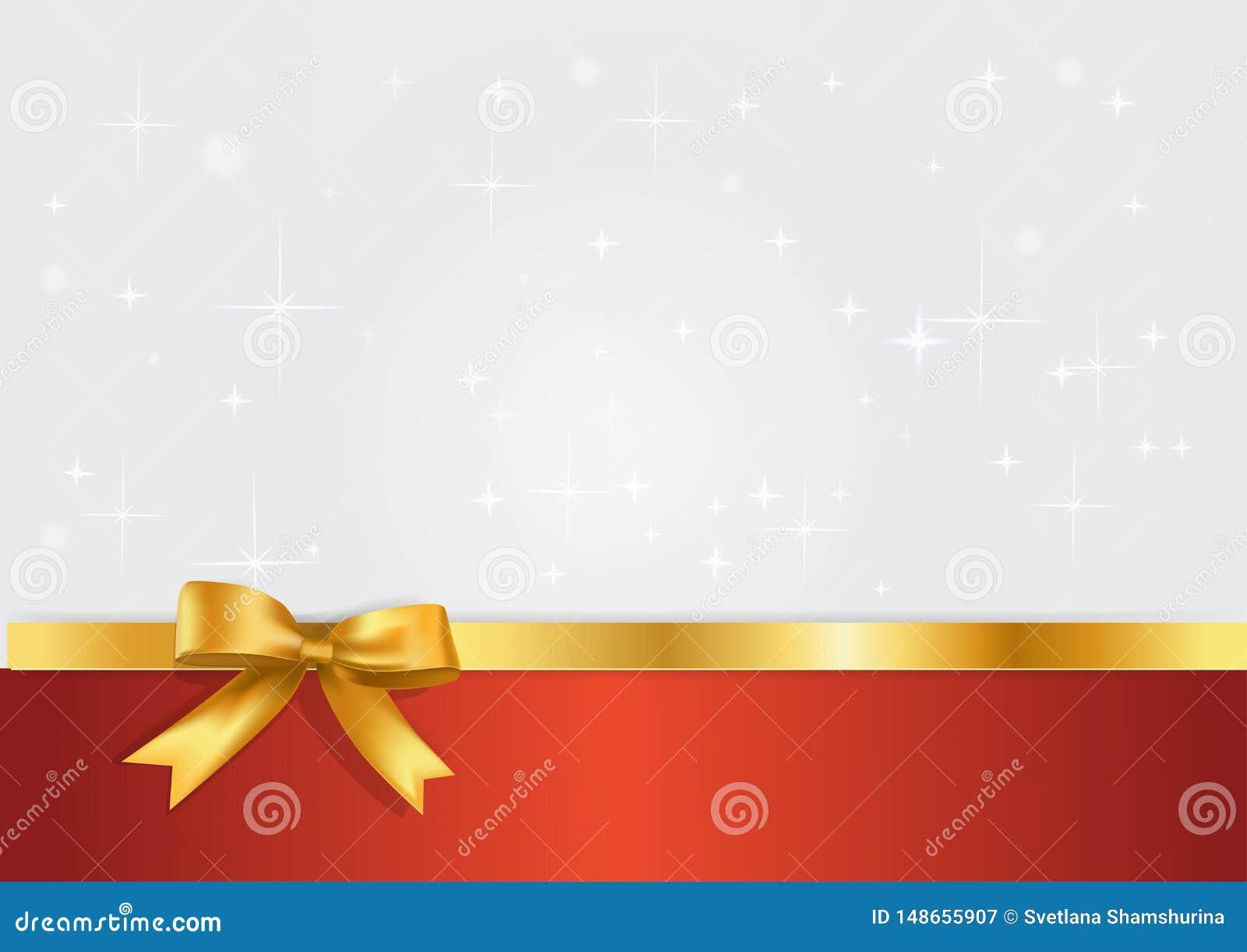 Wakacyjny biały, czerwony sztandar z i prezenta faborkiem i Błyskotliwości lekkiego silvet gwiaździsty tło z złotym