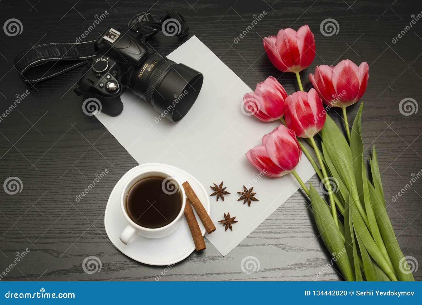 Wakacyjny pojęcie Bukiet różowi tulipany, dslr kamera, filiżanka kawy, cynamon, gwiazdowy anyż i prześcieradło papier na czerni d