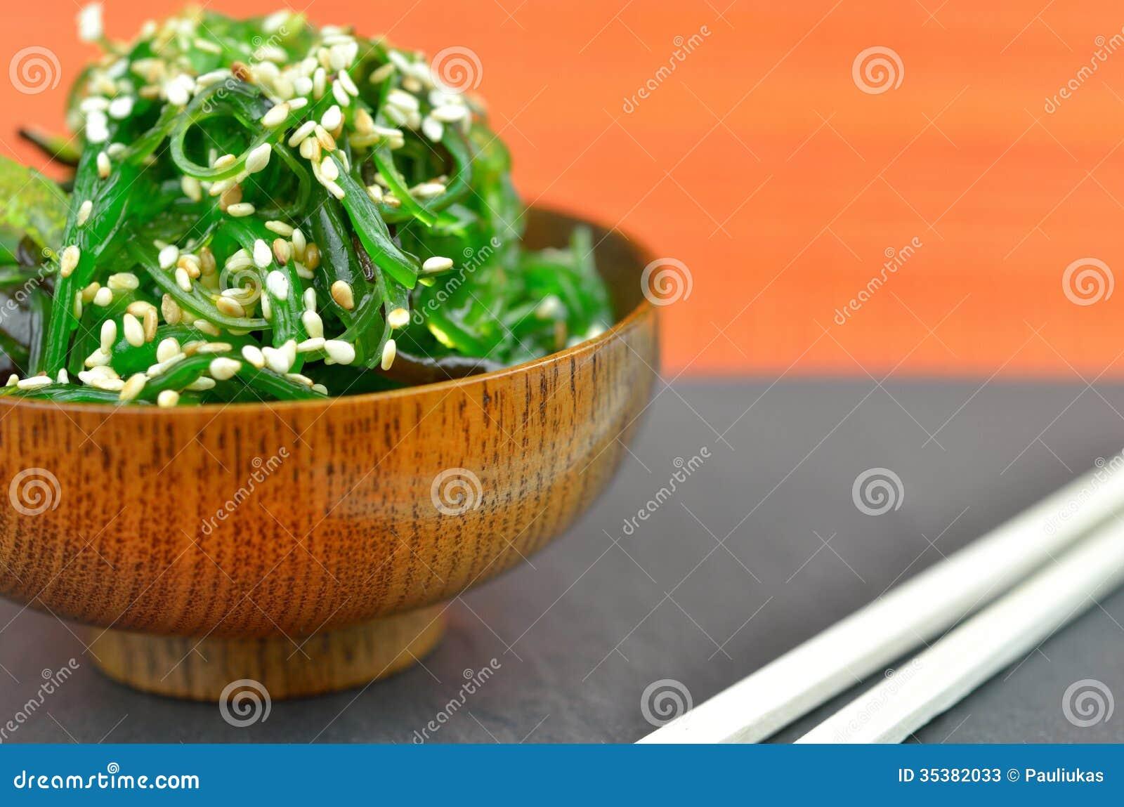 Wakame Salat Mit Samen Des Indischen Sesams Stockbild Bild Von
