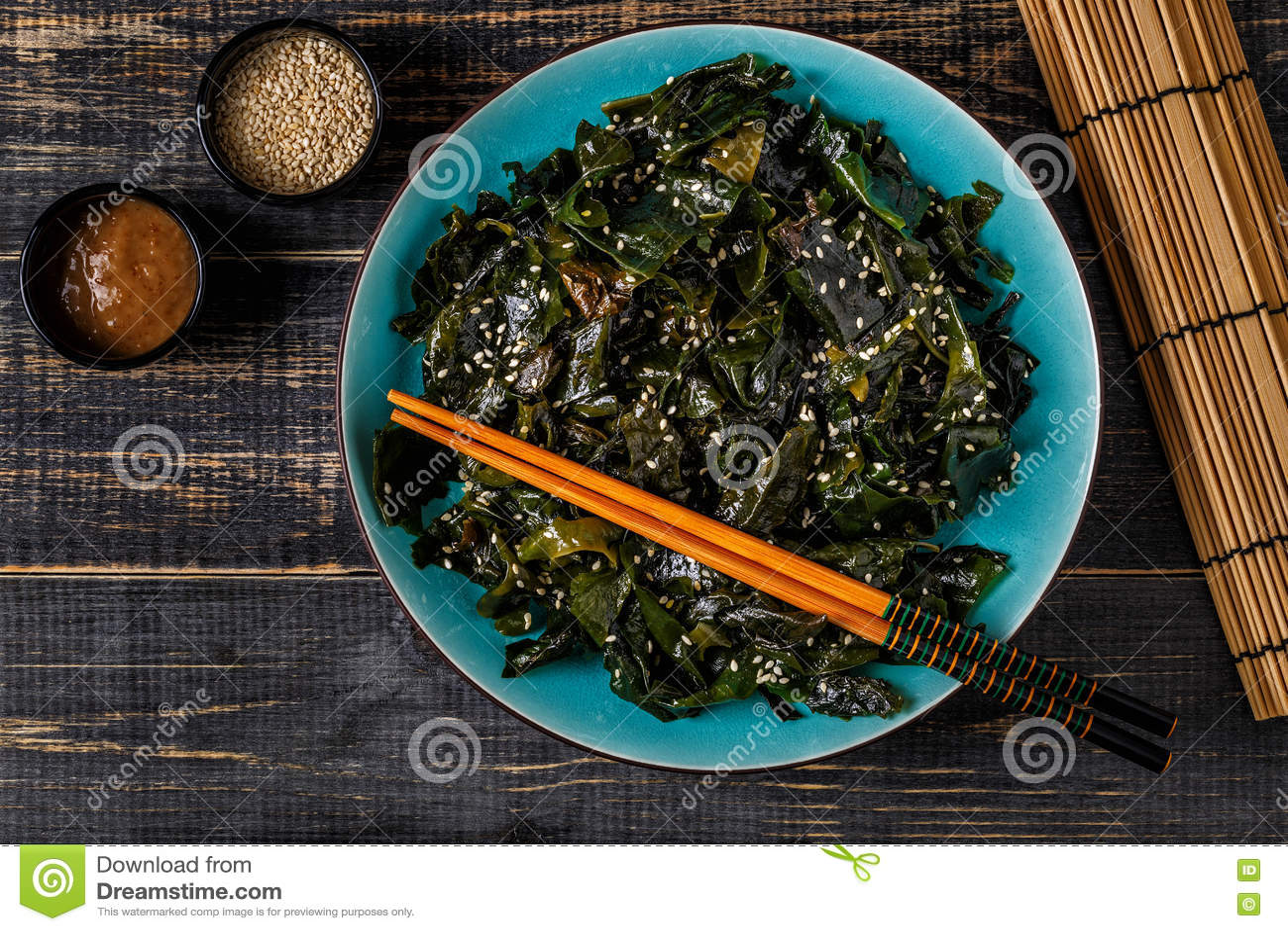 Wakame Salat Rohe Meerespflanze Japanische Kuche Stockfoto Bild