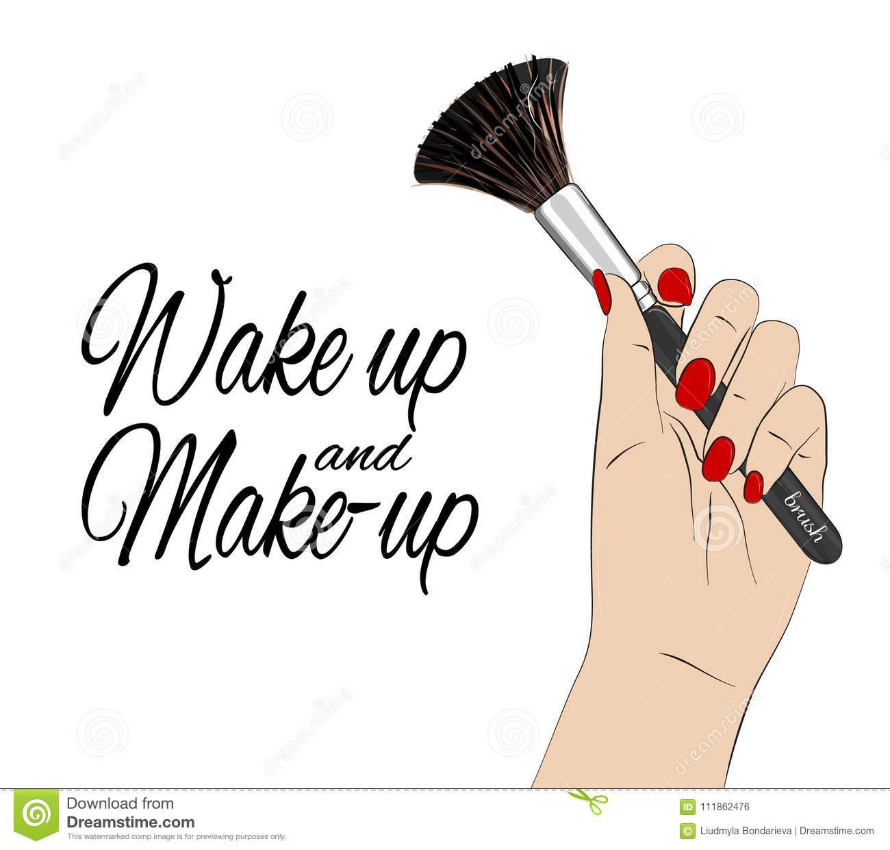 wake up and make up quote vector beauty poster hand with red nails