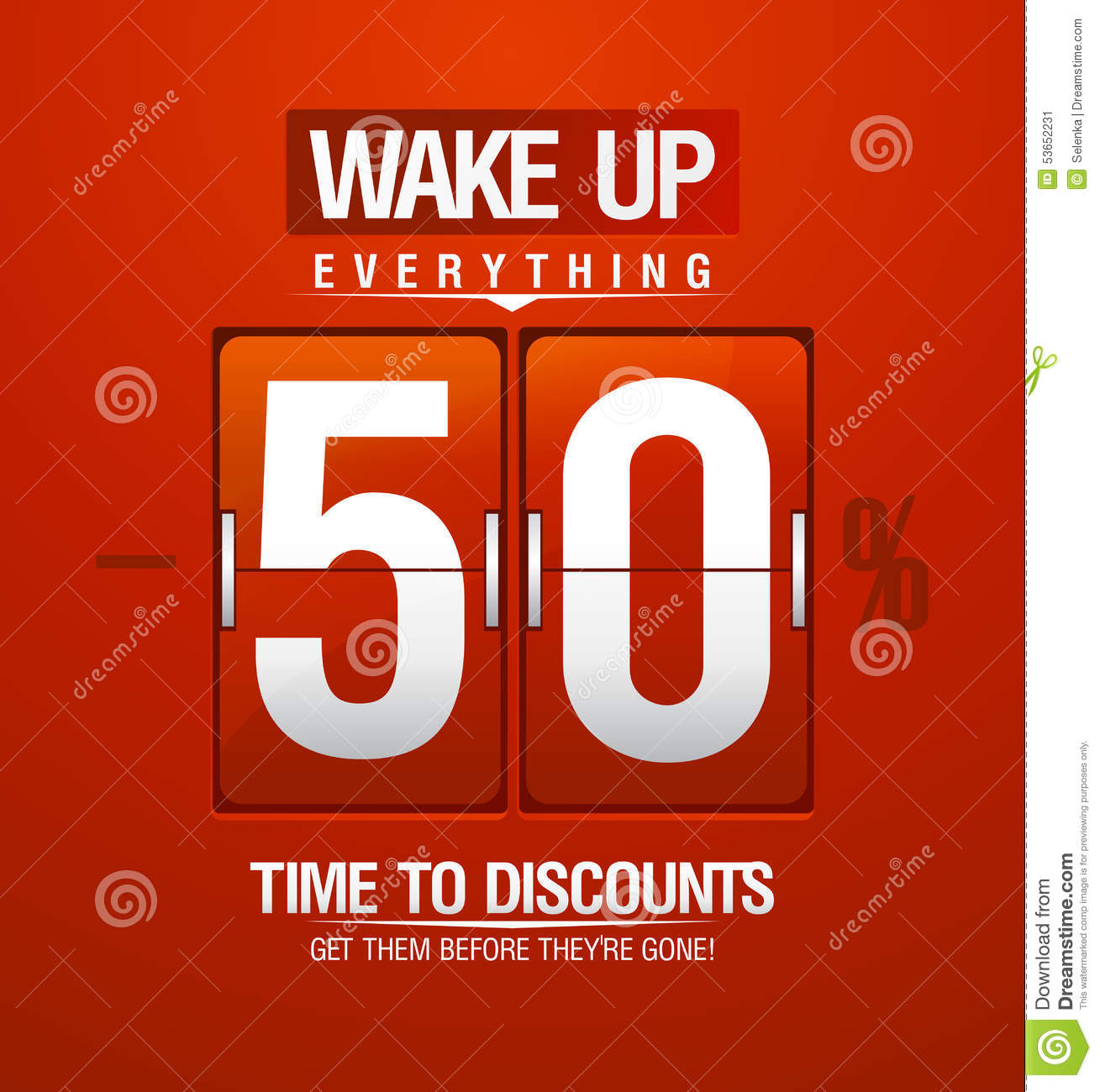 wake up 50 sale design for coupon stock vector illustration of