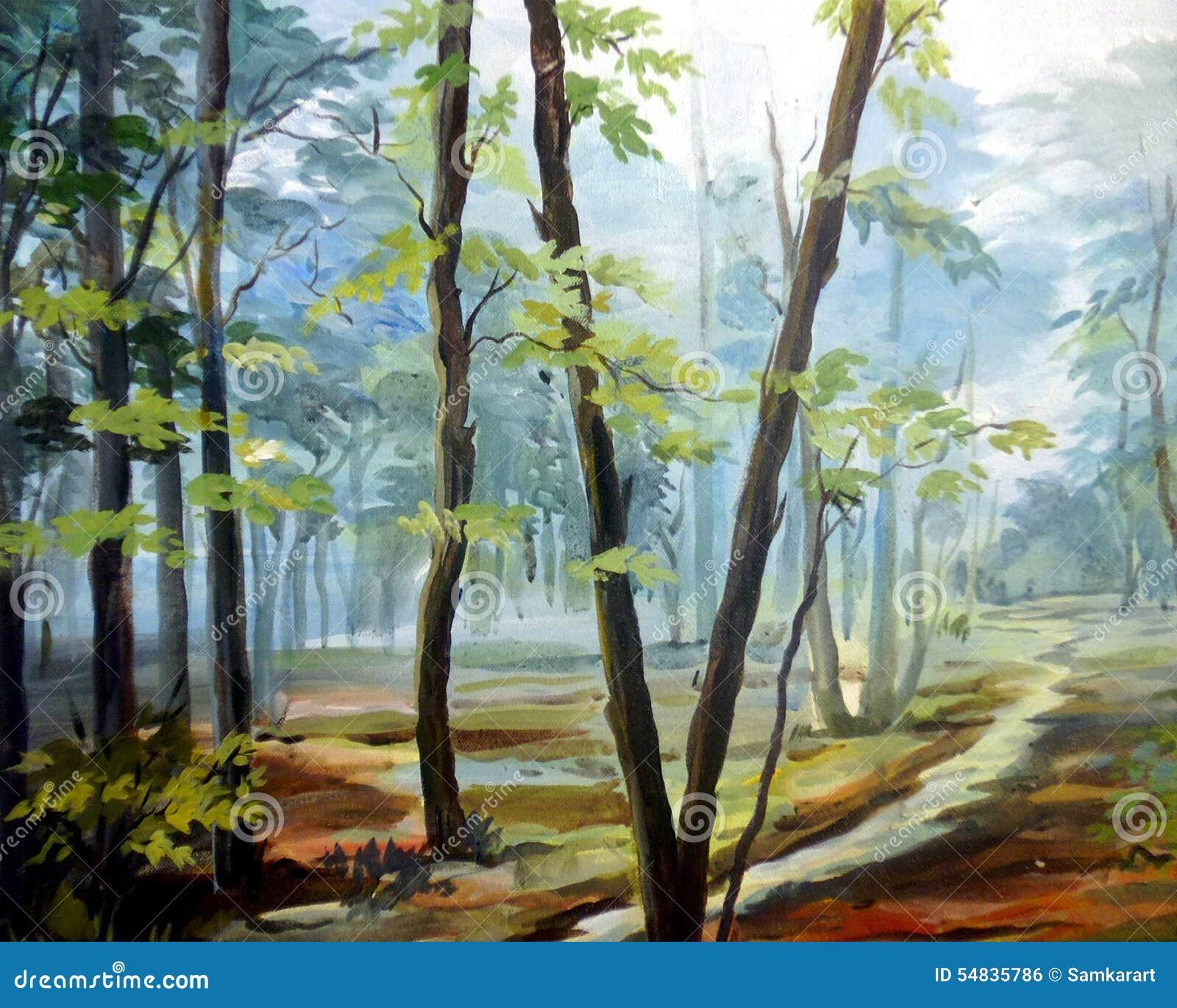 Wald-acrylsauer Auf Segeltuch-Malerei Stockfoto