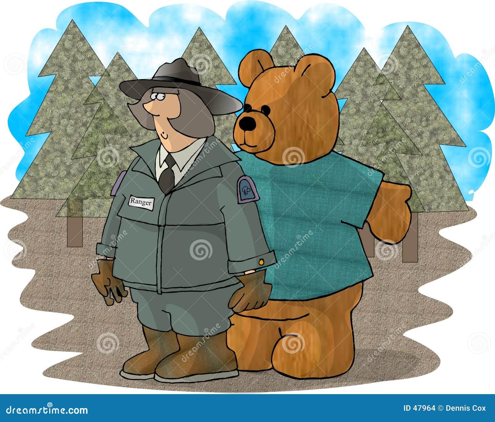 Waldförster und ein Bär