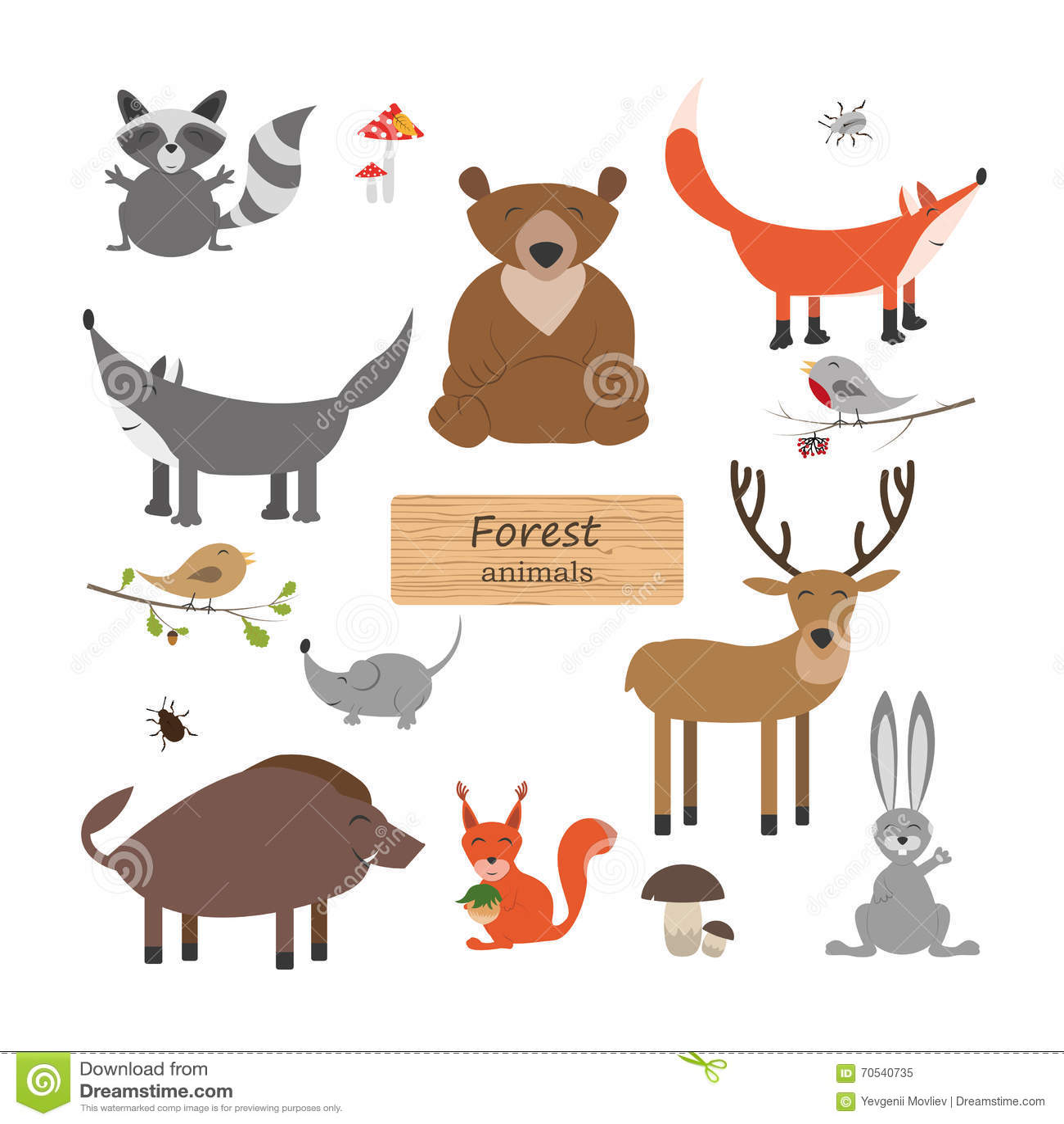 Waldtiere In Der Karikaturart Auf Weiem Hintergrund Wald