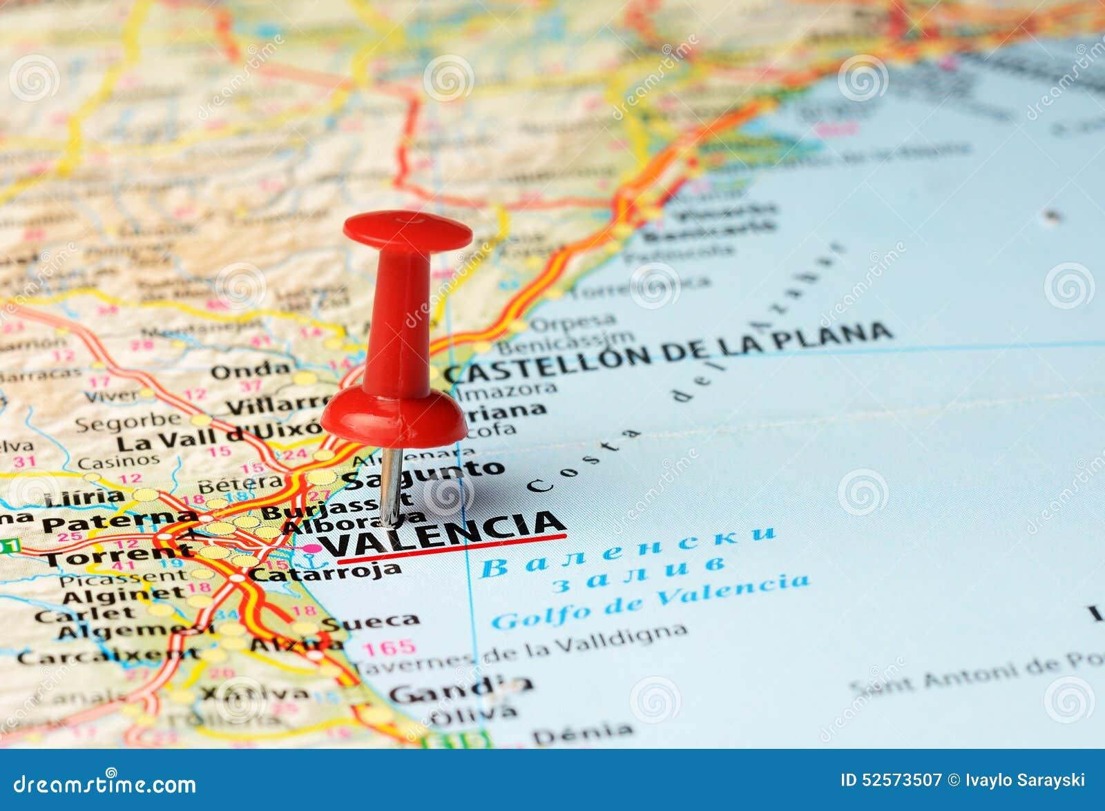Walencja Hiszpania Mapa Obraz Stock Obraz Zlozonej Z Pchniecie