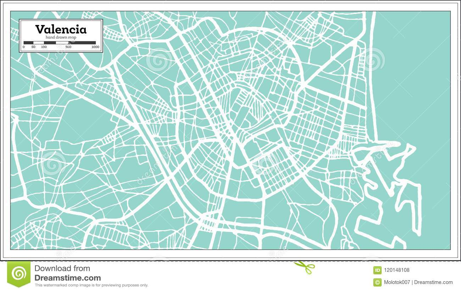 Walencja Hiszpania Miasta Mapa W Retro Stylu Czarny I Bialy