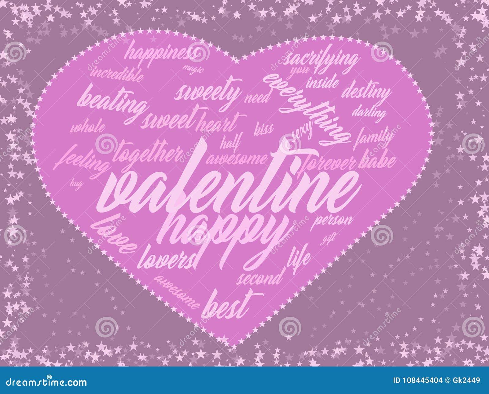 Walentynek menchii karty słowa kierowa chmura