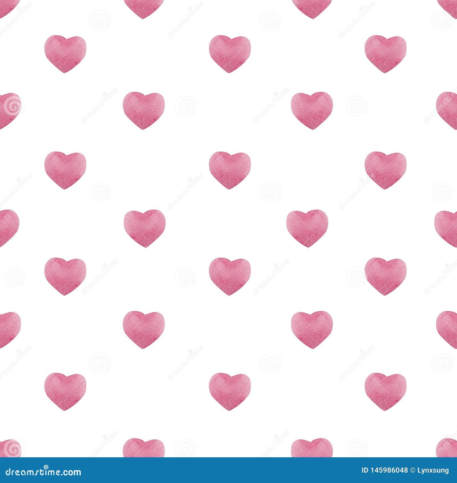 Walentynka dnia bezszwowy wzór z akwareli menchii sercami, tło dla Luty 14 świętowania
