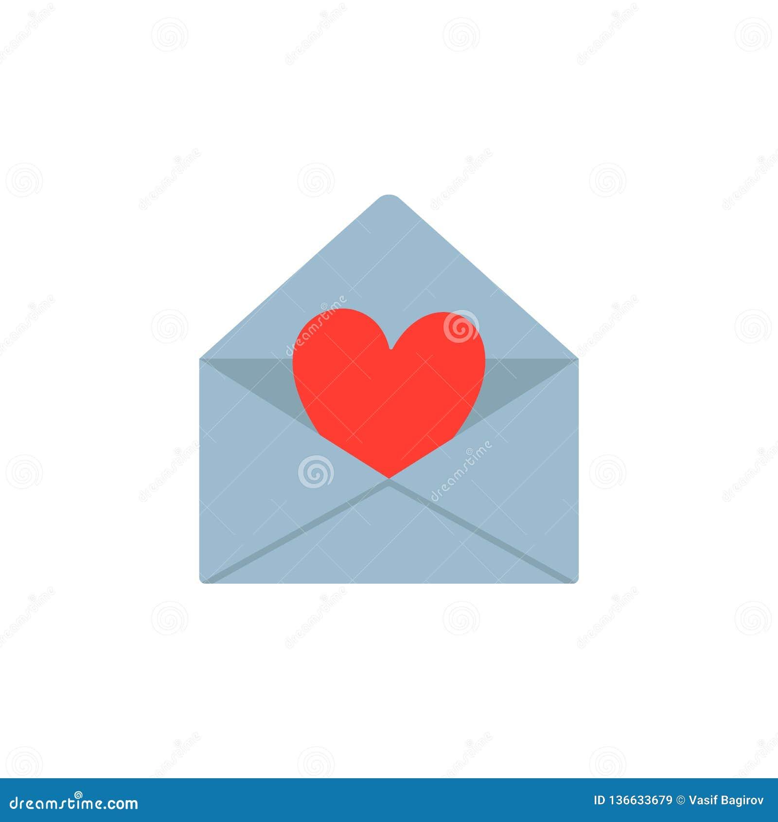 Walentynka dnia kartka z pozdrowieniami, zaproszenie List miłosny, koperta z sercem Płaski projekt również zwrócić corel ilustrac